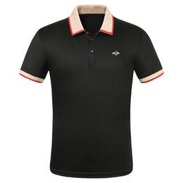 2019 großhandel luxus designer baumwolle polo shirts männer high street fashion kleine biene druck polos herren desginer marke polo t-shirt im Angebot