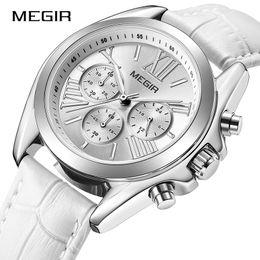 $enCountryForm.capitalKeyWord Australia - Top Brand New MEGIR Chronograph Women Watch Luxury Lover Clock Leather Strap Classic Lady White Watches Dress Clock Female 2019