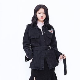 $enCountryForm.capitalKeyWord UK - ZURICHOUSE Floral Embroidery Jean Jacket Womens Spring Fashion Bandage Long Jacket 2019 New Arrival 100% Cotton Black Denim Coat