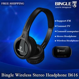 wireless radio headphone Canada - Original Bingle B616 Multifunction Stereo Wireless Headset Headphones With Microphone Fm Radio For Mp3 Pc Tv Audio Phones T6190617