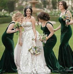 a6ddf4d53d Plus Size Hunter Green Mermaid Bridesmaid Dresses Spaghetti Backless Sweep  Train Velvet Garden Country Wedding Guest Dress Cheap 2019
