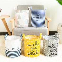Folded Laundry Basket Canada - Storage Baskets Folding Laundry Basket Yellow Arrow Couple Linen Washing Clothes Barrel Bags With Handles Kids Toys Hamper Bag