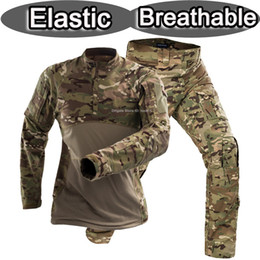 pullover military Australia - New elastic military uniform camouflage frog suit US army camo combat shirt + tactical pants airsoft training paintball clothing set softair