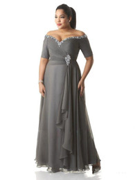 $enCountryForm.capitalKeyWord Australia - Custom Made Plus Size Dresses Evening Wear Bead Sequins Off-Shoulder Ruched Gray Chiffon Prom Dress Mother Of The Bride Gowns Ankle