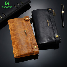 phone wallet case men Canada - wholesale 5.5 inch Stylish Genuine Leather Zipper Wallet Case For iPhone X 8 8Plus 7 7plus 6 6s 5 Man Women Card Slot Phone Fundas