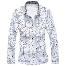Vente en gros 2017 Nouveau Designer Plus Taille 7XL Printemps Hommes Chemise Haute Qualité Classique Formel Géométrique À Carreaux À Manches Longues Robe Chemises Hommes