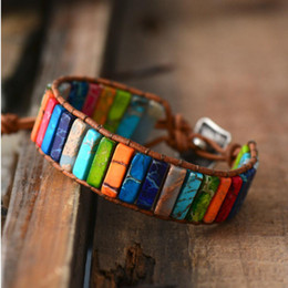 Beaded multi strand Bracelet online shopping - Chakra Bracelet Jewelry Handmade Multi Color Natural Stone Tube Beads Leather Wrap Bracelet Couples Bracelets Creative Gifts