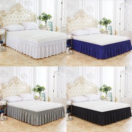ruffle bedding 2019 - Home Hotel Elastic Bed Skirt 4 Colors Elastic Bed Ruffles for Twin Queen Size Dust Ruffle pastoral Style Fit bedspread 4