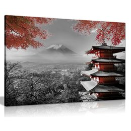 japanese wall canvas Australia - Black White Red Canvas Wall Art Picture Print Fuji Japanese Temple In Autumn Poster for Dining Room Kitchen Wall Decor Dropship