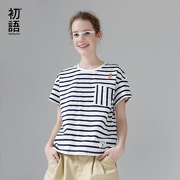 $enCountryForm.capitalKeyWord Australia - Toyouth Striped Cotton Summer T-shirt Embroidery Short Paragraph Tshirt Women Tops Casual Pocket Short Sleeve Tee Shirt Femme Y19072001