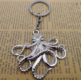 Discount squid gifts - Ancient Silver Bronze Sea Monster Keychain Big octopus squid Charm Pendant key chain Men Women Holiday Gift Keychain