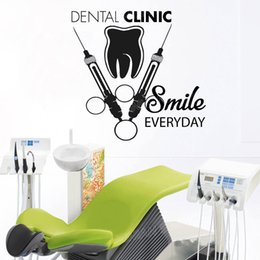 sticker cartoon smile UK - Tooth Healthcare Dental Clinic Wall Decal Smile Everyday Quote Vinyl Wall Stickers Stomatology Decals Teeth Wall Decor