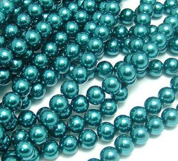 6mm pearls acrylic UK - PEACOCK BLUE 4 SIZES ROUND spacer GLASS PEARL BEADS FOR JEWELRY MAKING 4mm 6mm 8mm 10mm