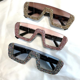 c25316e2b3942 Square Luxury Sunglasses Women Brand Designer Ladies Oversized Rhinestone  Sunglasses Men Half Frame Eyeglasses For Female Uv400 C19042001