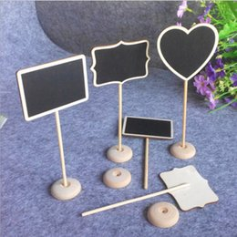 Halloween Place Card Holders Australia - Heart Square Shape Wooden Wood Chalkboard Blackboard Table Number Place Card Holder for Wedding Birthday Party DHL Free Shipping