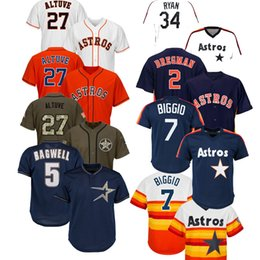 Mens Houston Jose Altuve Astros Jersey Alex Bregman George Springer Carlos Correa Nolan Ryan Jeff Bagwell Craig Biggio Yuli Gurriel Maglie on Sale