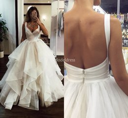 Wholesale open skirts for sale - Group buy Latest Arabric Tiered Wedding Dresses Deep V Neck Sweep Train Open Back Country Bridal Gown A Line Plus Size Garden Vestidoe De Noiva Custom