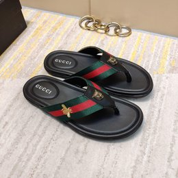 9c0f04a95 New Italian Summer Men s Slippers Premium Stripe Ribbon Apartment Beach  Thong Flat Men s Casual Sandals Free Shipping 40-44 Size