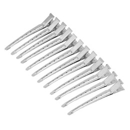 Wholesale Duckbill Hair Clips UK - 12 Pcs Stainless Steel Duckbill Mouth Clips Professional Hairdressing Beak Hair Sectioning Crocodile Hairpins Salon Dying Stylin