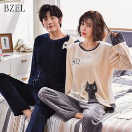 11085be50c6 BZEL Flannel Pajamas Autumn Winter Lovers Pajamas Set Cute Cat Long Sleeve  Flano Pijamas Coral Plush Couples Pyjamas Sleepwear