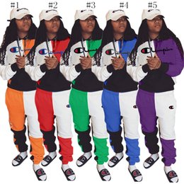 $enCountryForm.capitalKeyWord Australia - Color Block Champion brand Tracksuits designer Two Piece Outfit Women Hooded Sportswear Patchwork Hoodie Pants Trousers Sports Suit C8502
