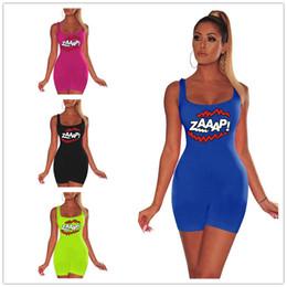 Green Jumpsuit Black Woman Australia - ZAAAP Letters Print Women Conjoined Shorts Bodysuit Rompers Jumpsuits Summer Sexy GYM Jumpsuit Romper Designer Fitness Vest Shorts C6403