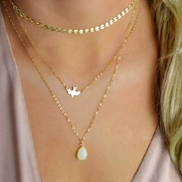 Peace Dove Pendant Australia - TOMTOSH 2019 New Peace Dove Soar Flying 3 Layers Crystal Sequins Chain Pigeon Bird Water Drop Pendant Multilayer Necklace Female Streetbeat