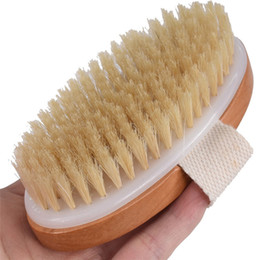 $enCountryForm.capitalKeyWord UK - Pumice Dry Massage Natural Bristle Body Back Wash Exfoliating Shower Brush Soft Natural Bristle Brush for Bath Wooden Accessories