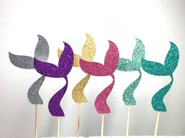 $enCountryForm.capitalKeyWord Australia - glitter Mermaid Tail cupcake toppers Food Picks rustic wedding party baby bridal shower birthday cake topper Secret Garden Party Decoration