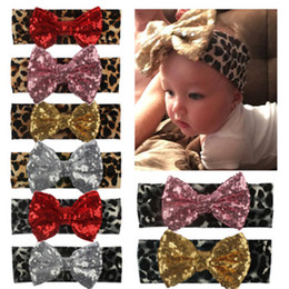 baby sequin bow NZ - INS 2019 Cute Baby Girls Leopard Print Headband Headwrap Sequin Bow Elastic Hairband Children Fashion Hair Accessories Baby Girl's Headband