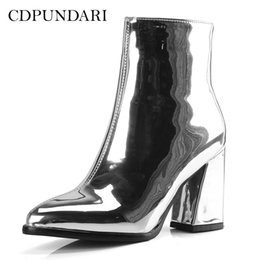 Purple Shoes For Women Heels Australia - CDPUNDARI Silver Black Ankle boots for Women High heel boots Ladies Winter shoes woman Gold Purple botas invierno mujer