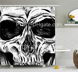 $enCountryForm.capitalKeyWord Australia - DIY Unique Halloween Shower Curtain Gothic Dead Skull Face Close Up Sketch Evil Anatomy Skeleton Artsy Bathroom Decor Set with Hook