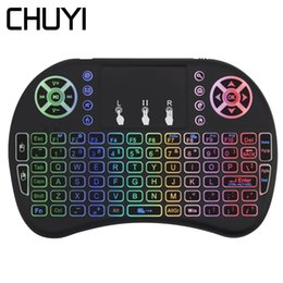 $enCountryForm.capitalKeyWord Australia - CHUYI 2.4Ghz Wireless QWERTY Keyboard Air Mouse Mini Colorful Backlight Handheld Touchpad Keypad For PC Laptop Android TV Box