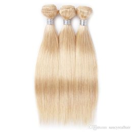 Platinum Hair 16 Inch Australia - Top Quality Platinum Blonde Color 60# Straight weft human hair 95-100gr piece & 3pcs Lot, Free DHL
