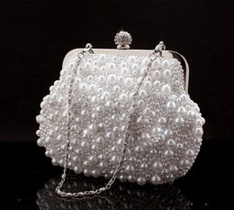 Cheap Clutches Bags Australia - Cute Full Pearls Beaded White Bridal Wedding Hand Bags Evening Party One Shoulder Small Clutch Dinner Bags Cheap White ivory Black 2019