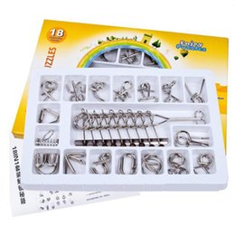 Wholesale 18 Set IQ Metal Wire Puzzle Mind Brain Teaser Magic Wire Puzzles for Adults Children Classic Chinese Ring Educational Toys