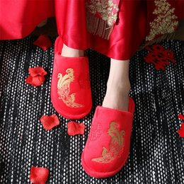 chinese red slippers Australia - Spring Chinese Style Women Red Wedding Slippers Indoor Comfortable Embroidery Couple Home Slippers Winter Non-slip Home Slipper