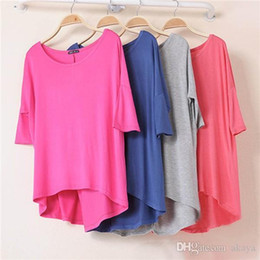 Women Batwing White Tee NZ - 1 Piece Cotton Casual Women Oversized Batwing Short Sleeve T-shirts Loose Tops Tee 16 Colors