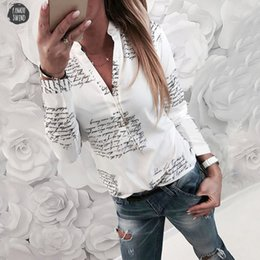 ladies high neck white blouse Australia - Women Blouse Ladies V Neck Letters Printing Button Long Sleeve Elegant Fashion Soft Sexy Casual High Quality Shirts