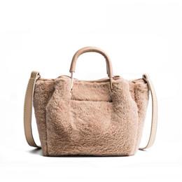 White Faux Fur Shorts Australia - 2019 Fashion Soft Faux Fur Bag Small Women For Winter Short Handle Handbag Ladies Cross-body Tote Hand Bag Woman