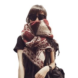 Girls Fashion Scarves UK - Litthing Autumn and winter ethnic style geometric fringe large scarf warm long cashmere shawl Korean thick wild girls scarf