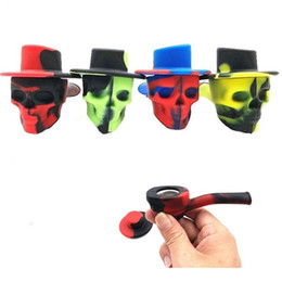 cigarette holders for men 2019 - New arrive skull shaped tobacco pipe with lid Euramerican popular silicone smoking pipe portable cigarette holder smokin