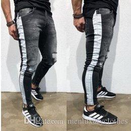 Striped Pencil Pants Australia - Jeans hombre Men Pantalones Ripped Jeans Black Side Striped Draped Biker Jean Pencil Pants