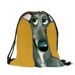 Dog Backpack Large UK - Lovely Black Dog Expression Prints Boys Girls Drawstring Backpack Eco Polyester Reusable Casual School Class Shoulder Bags