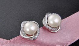 pearl sets Australia - Personality s925 sterling silver pearl earrings ladies fashion OL first jewelry accessories set with zircon wholesale