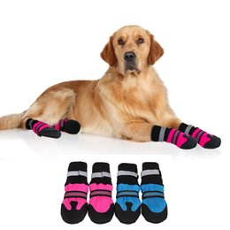 dog snow shoes UK - 4Pcs Waterproof Pet Dog Shoes Winter Anti-Slip Snow Pet Boots Reflective Paw Protector Warm Socks For Medium Large Dogs Dog Apparel