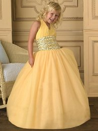 $enCountryForm.capitalKeyWord Australia - Halter Yellow Ball Gown Custom Cute Halter Flower Girl Dress Floor Length Hand Made TUTU Bows Kids Prom Birthday Dress Cheap