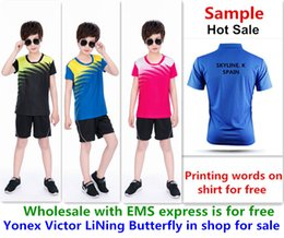 Ems Clothes Australia - Wholesale EMS for free, Text printing for free, new kid children badminton shirt clothes table tennis T sport shirt clothes 123