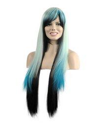 Frauen Mode Charming Lange Hellblaue Mix Schwarz Gerade Net Kanekalon Hitzebeständige Cosplay Party Haar Volle Perücke Perücken