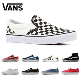 Black old women shoes online shopping - 2019 designer canvas sneakers top quality old skool sk8 hi slip on men women skateboard shoes black CHECKERBOARD fashion flat casual shoe